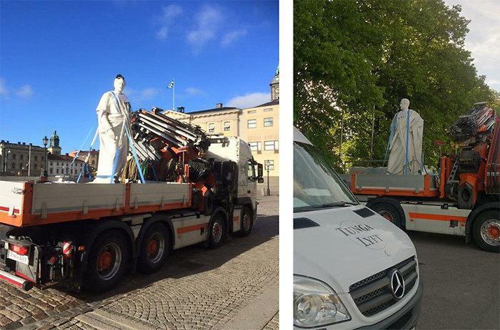 kung oscar I tar lastbilen med tunga lyft